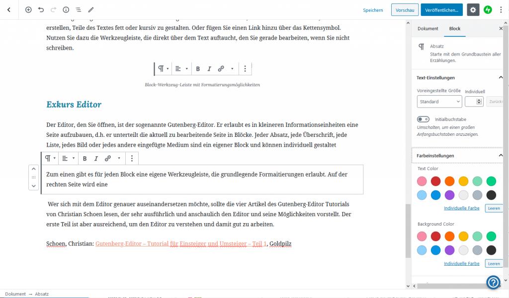 Screenshot des Gutenberg-Editors zur Bebilderung der darunter folgenden Erklärungen zu den Funktionalitäten