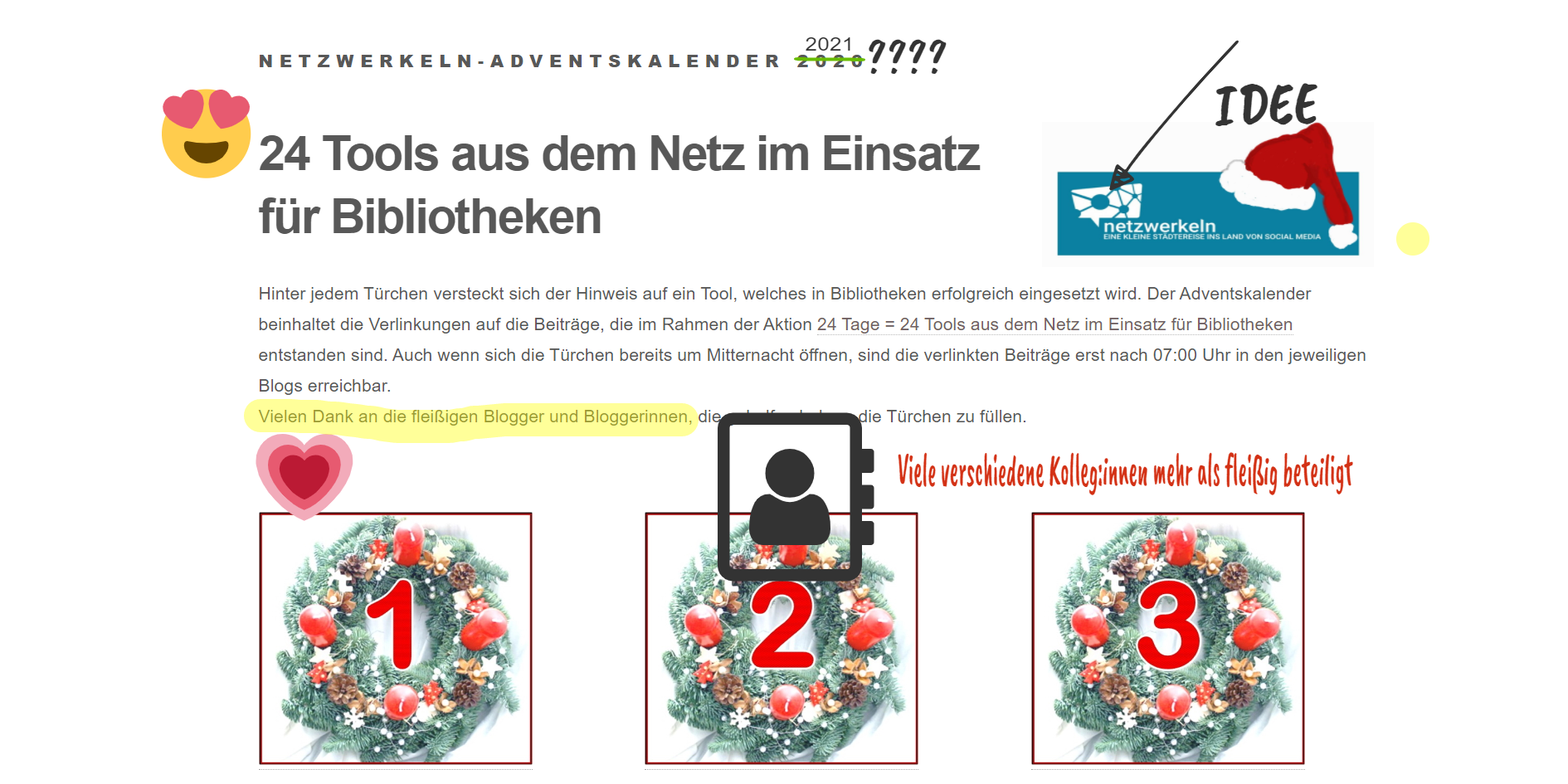 Annotierter Screenshot des Adventskalenders mit Copy&Paste-Design