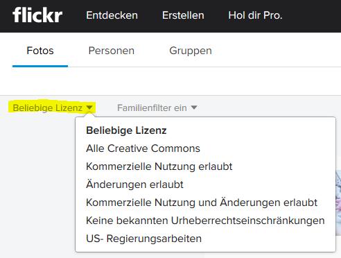 Flickr-Suche nach Lizenz einschränken.
