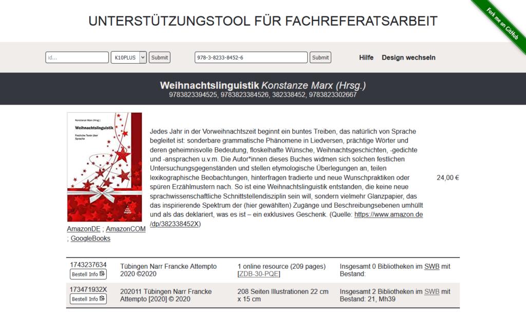 Screenshot von malibu bei der Suche nach einer ISBN