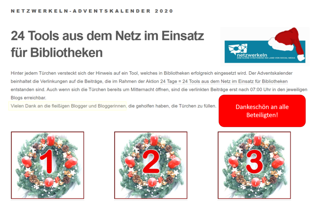 Annotierter Screenshot des Adventskalenders mit Powerpoint