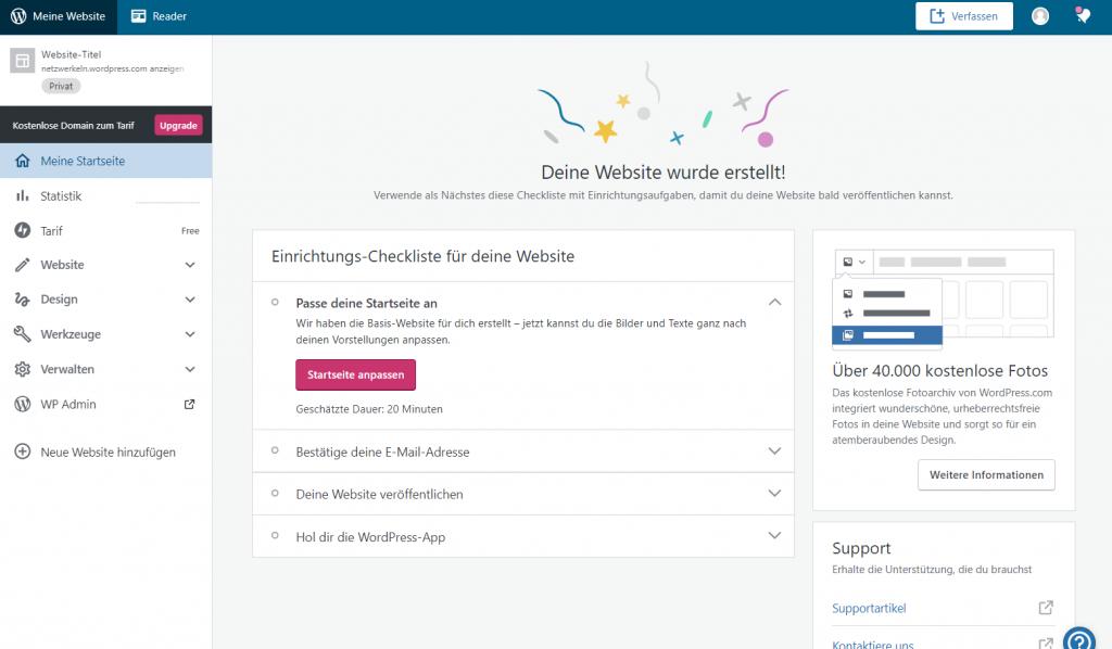 Dashboard von WordPress.com als Basis für die Arbeit in Ihrem Weblog